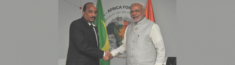 Hon'ble President  of Islamic Republic of Mauritania  with the Prime Minister of India during IAFS III