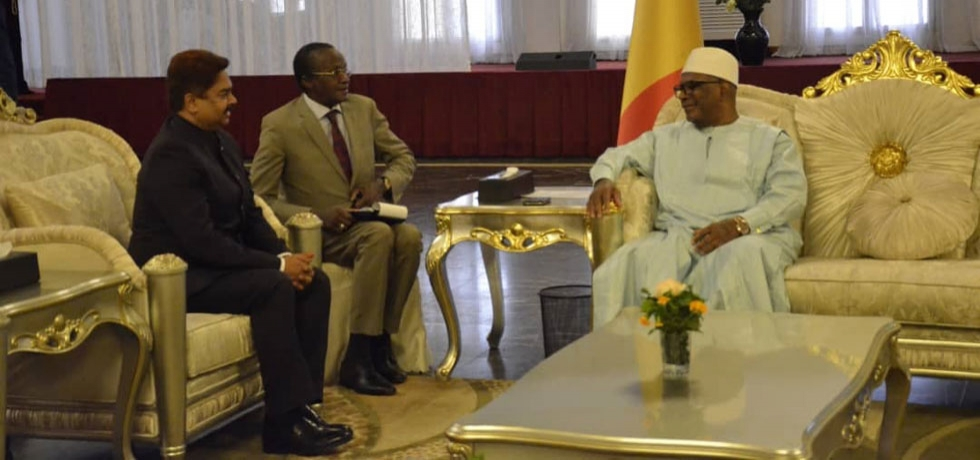 With President Ibrahim Boubacar Keita of Mali during credentials ceremony on 17 January 2020.