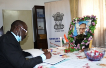 Opening of condolence book on the demise of Shri Pranab Mukherjee, former President of India.