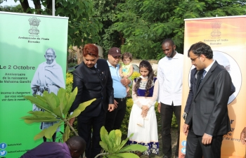 Gandhi Jayanti - Planting of tree at Embassy